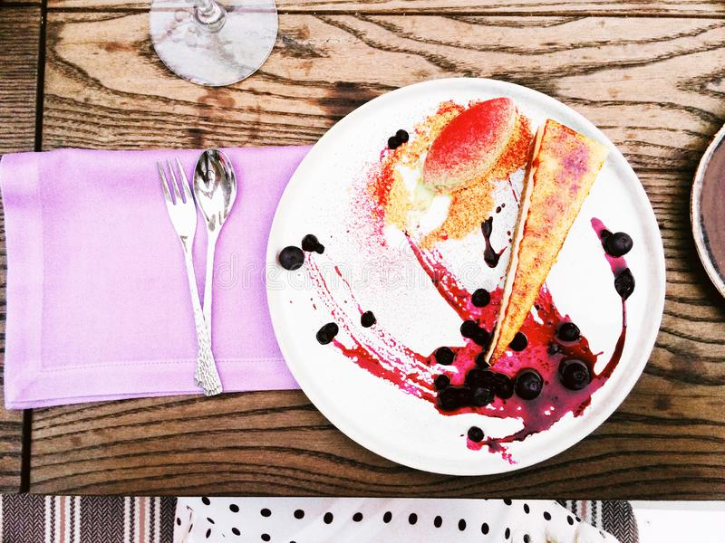 Chef`s dessert - pastry and sweet food styled concept. Elegant visuals royalty free stock images