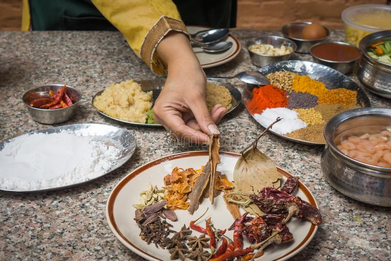 An Indian chef holds traditional spices and herbs royalty free stock images