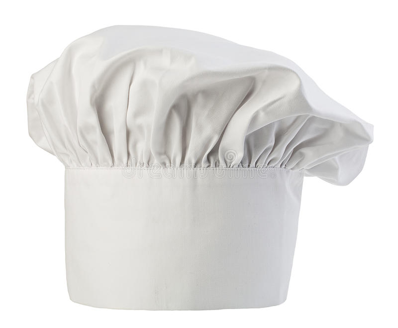 Chef's hat close-up isolated on a white background. Cooks cap. Chef's hat close-up isolated on a white background. Cooks cap royalty free stock photography