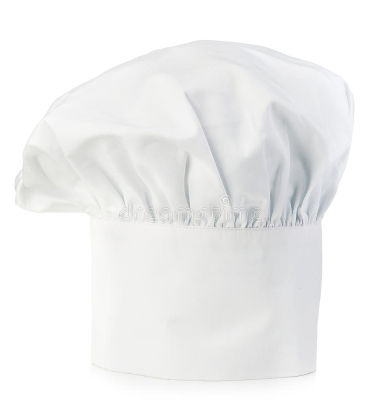 Chef's hat close-up isolated on a white background. stock photo