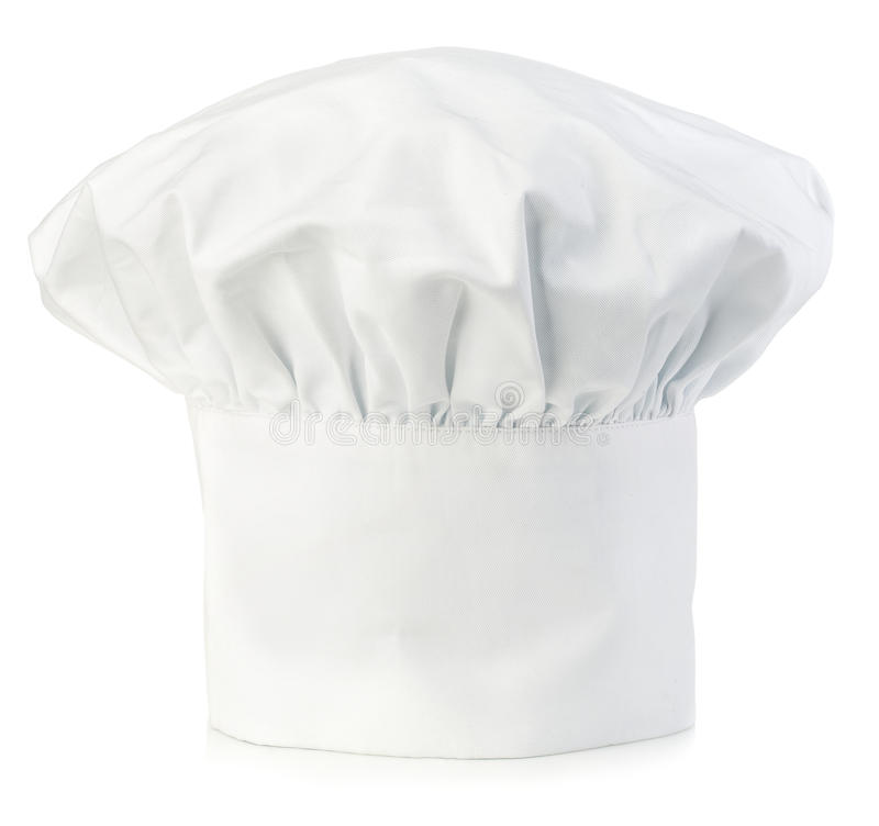 Chef's hat close-up isolated on a white background. Original cooks cap. Chef's hat close-up isolated on a white background stock photography