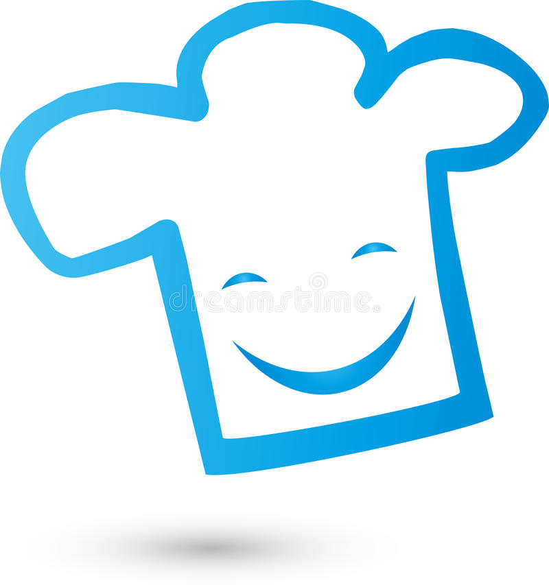 Chef`s hat with smile, cook and baker`s logo. Chef`s hat with smile, colored, cook and baker`s logo vector illustration