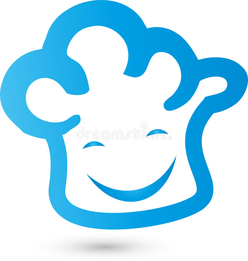 Chef`s hat with smile, cook and baker`s logo. Chef`s hat with smile, colored, cook and baker`s logo royalty free illustration