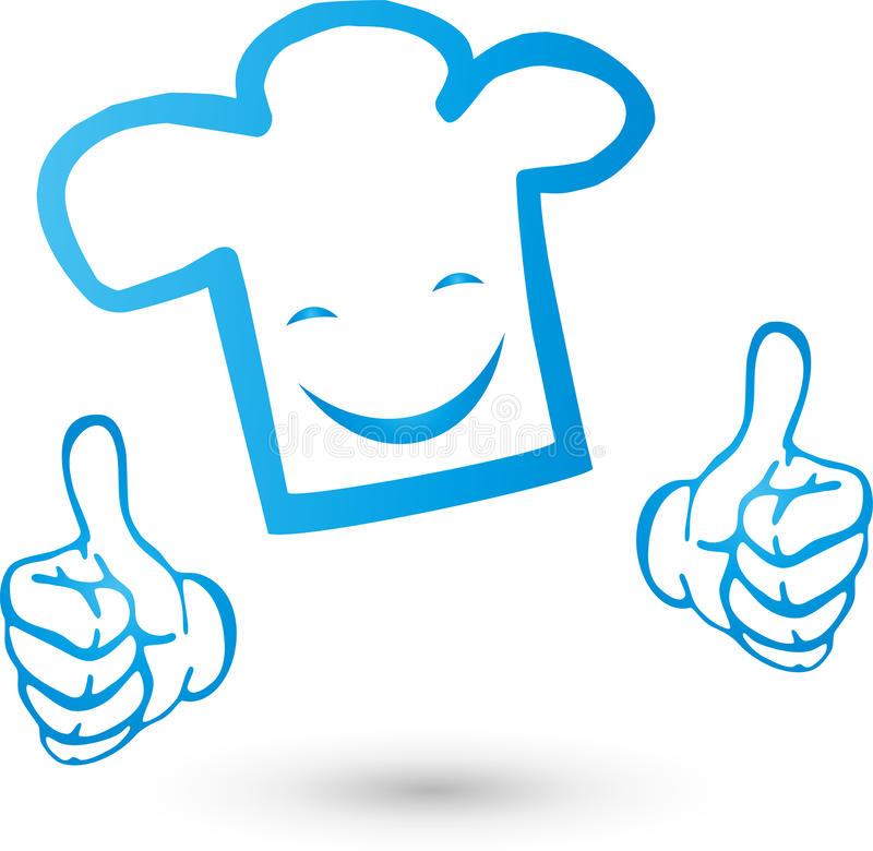 Chef`s hat with smile and hands, cook and restaurant logo. Chef`s hat with smile and hands, Colored, cook and restaurant logo stock illustration