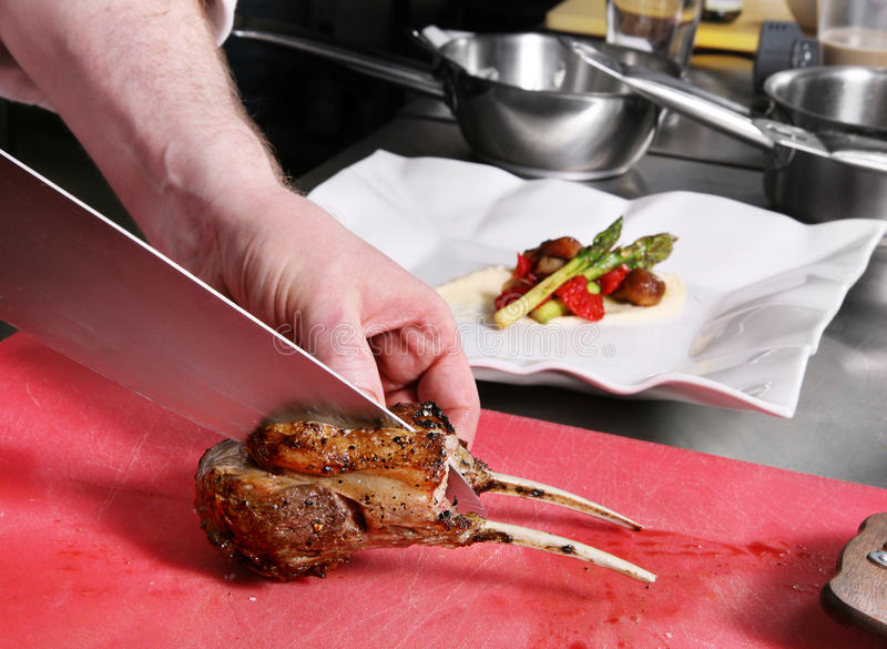Chef Salted Meat Royalty Free Stock Image