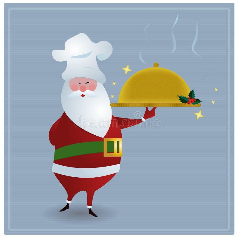 Chef Santa. Santa with chefs hat, holding golden serving dish stock illustration