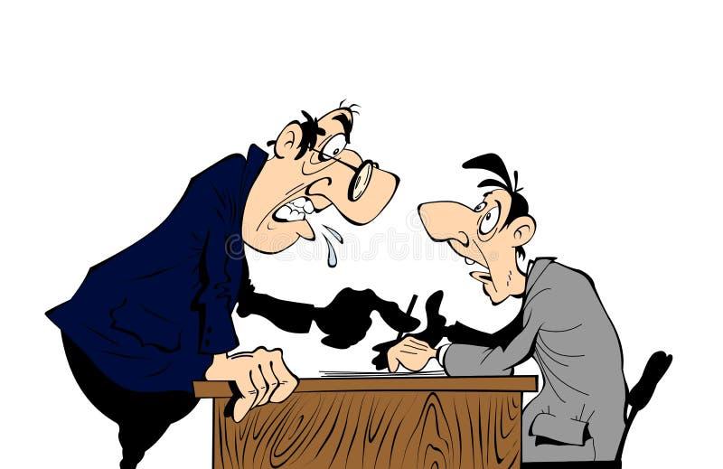 Chef- schreeuwen op arbeider royalty-vrije illustratie