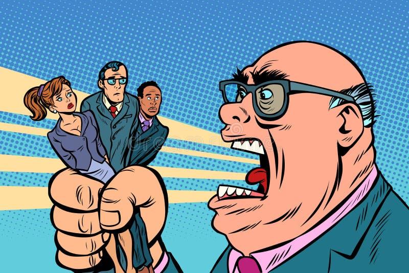 Chef schreit an den Untergebenen stock abbildung