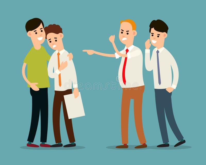 Chef schreit und entlässt Angestellten Kollege beruhigt einen frustrierten Angestellten Manager rät dem Chef Problempartnerschaft lizenzfreie abbildung