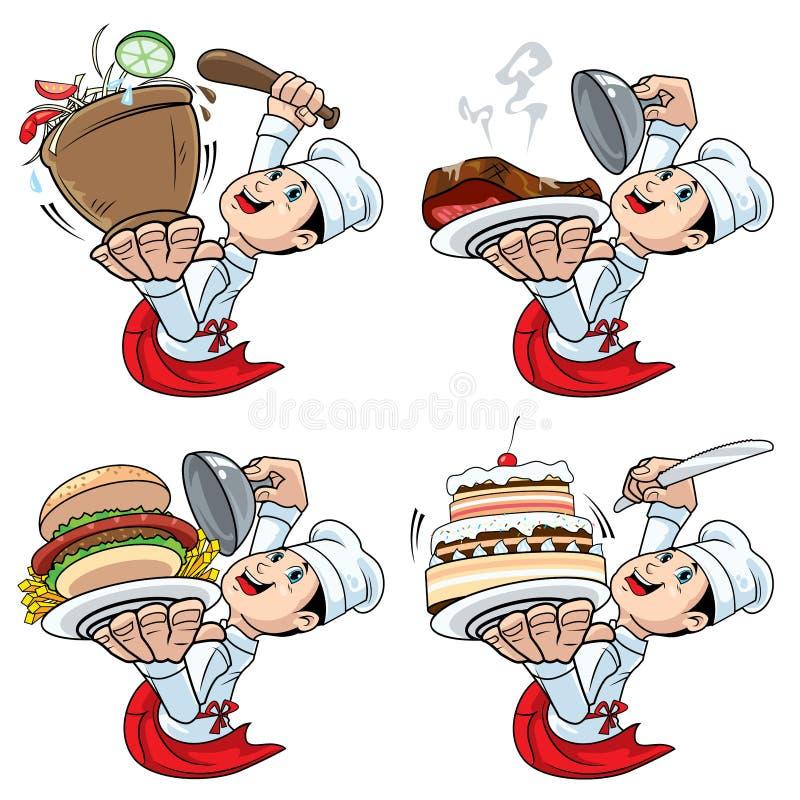 Chef serve food international cartoon character vector illustration