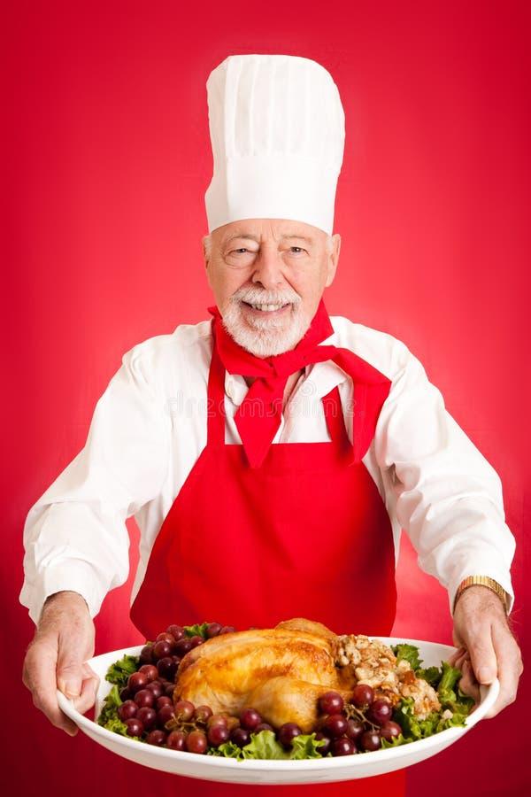 Chef Serves Turkey Dinner Stock Photography