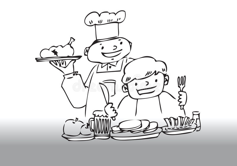 Chef serving dinner. Hand drawn illustration of a chef serving dinner to a customer royalty free illustration
