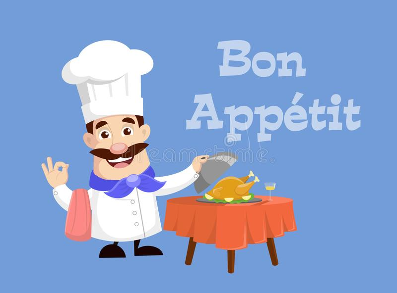 Chef serving hot food and roasted chicken Vector Illustration royalty free illustration