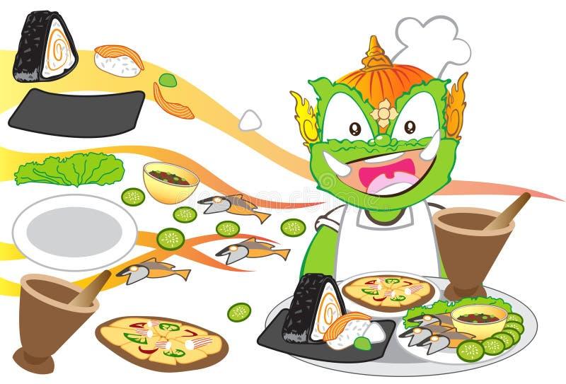 Chef serving International food is Thai cartoon character design stock illustration
