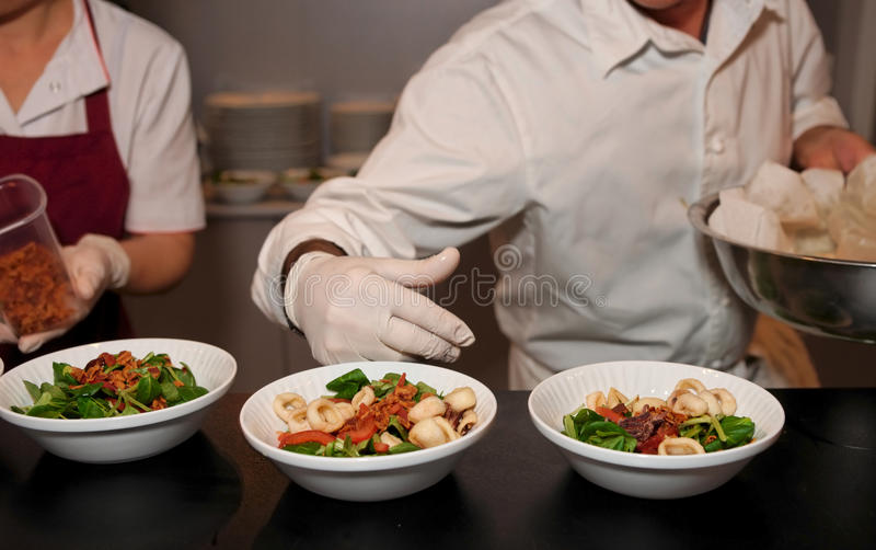 Download Chef is serving plates stock image. Image of lunch, decorating - 28609395