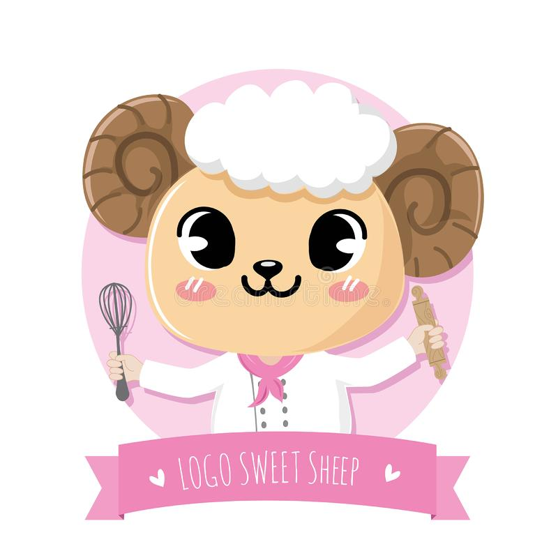 Chef sheep smile sweet bakery. Logo cute and friendly sweet sheep dessert chef holds a kitchen equipment stock illustration