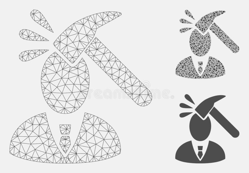 Chef Shock Vector Mesh Network Model och mosaisk symbol för triangel royaltyfri illustrationer