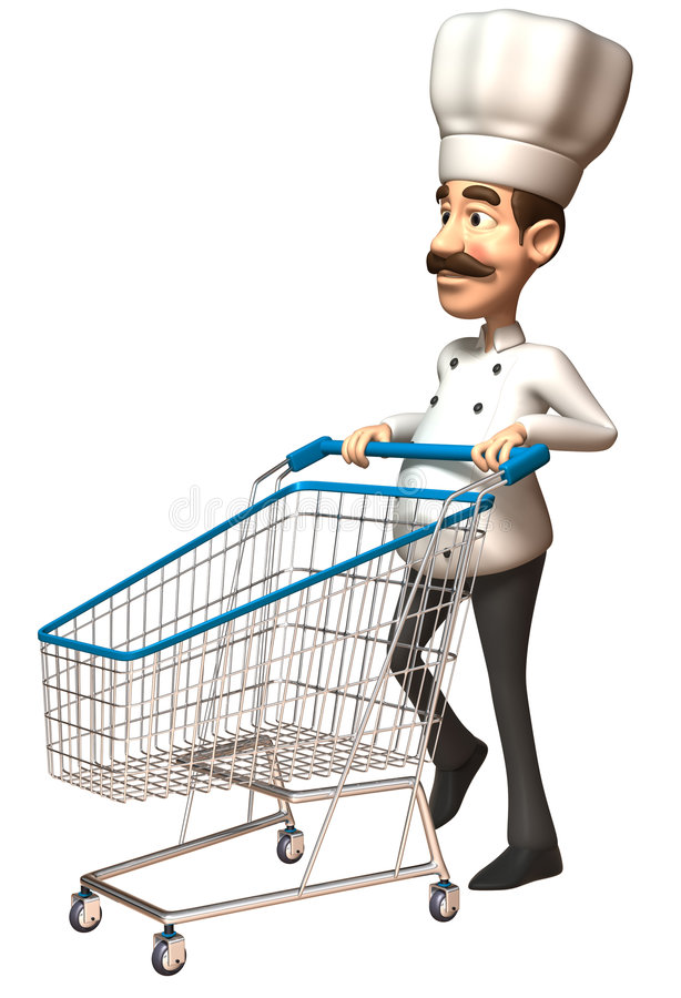 Chef with a shopping cart. 3d generated picture vector illustration