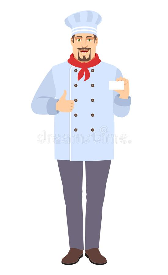 Chef showing the business card showing thumb up stock image