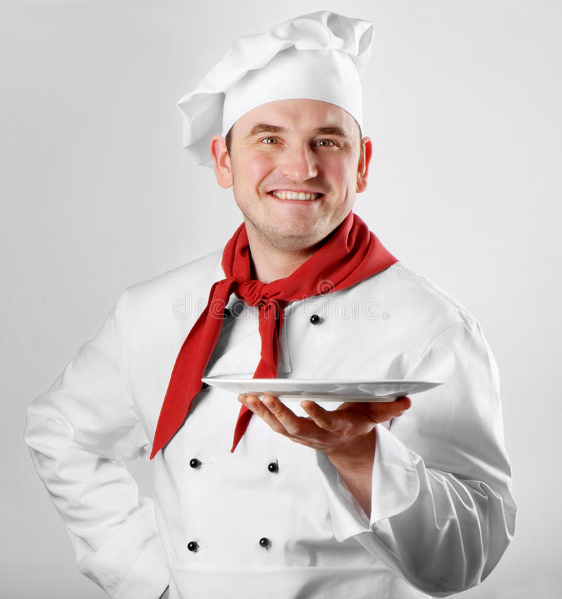 Download Chef showing empty plate stock photo. Image of cuisine - 22985694