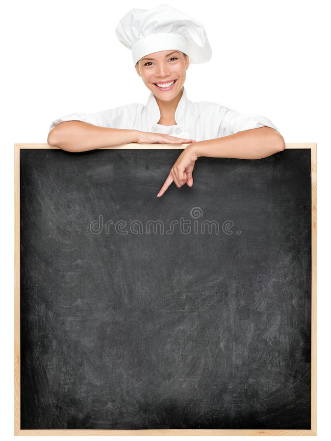 Chef showing menu sign royalty free stock photo