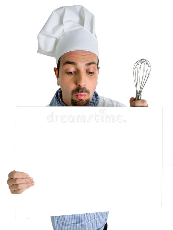 Chef showing the menu. With the whisk royalty free stock photos