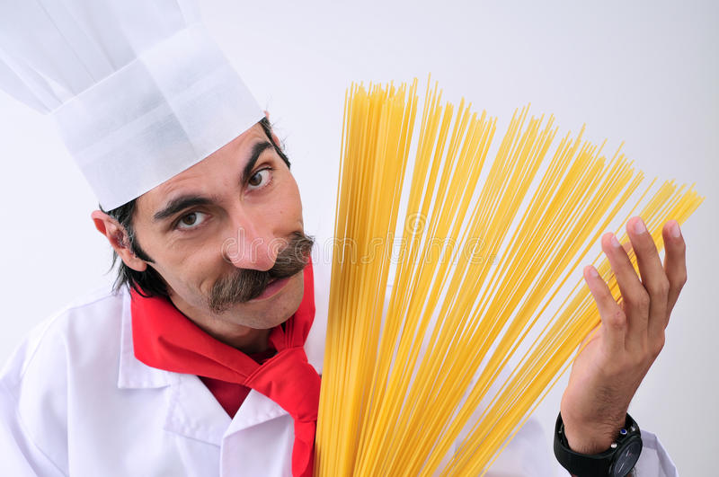 Download Chef showing spaghetti stock image. Image of adult, gourmet - 11270799