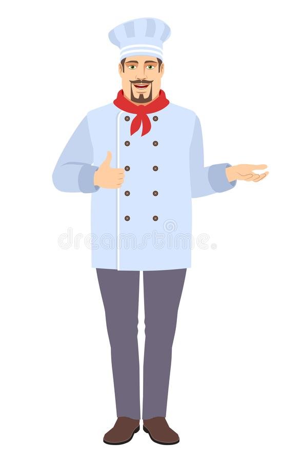 Chef showing thumb up and gesticulating stock photography