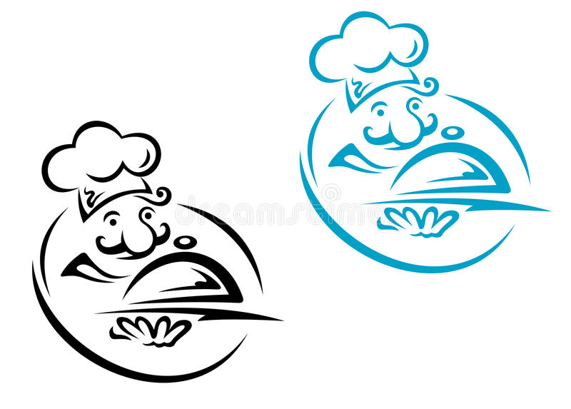 Chef with silver tray royalty free illustration