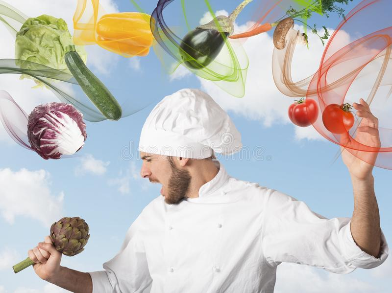 Chef sings stock photography