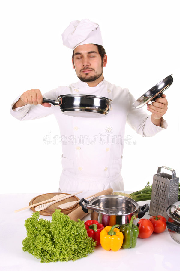 Chef smelling stock photography