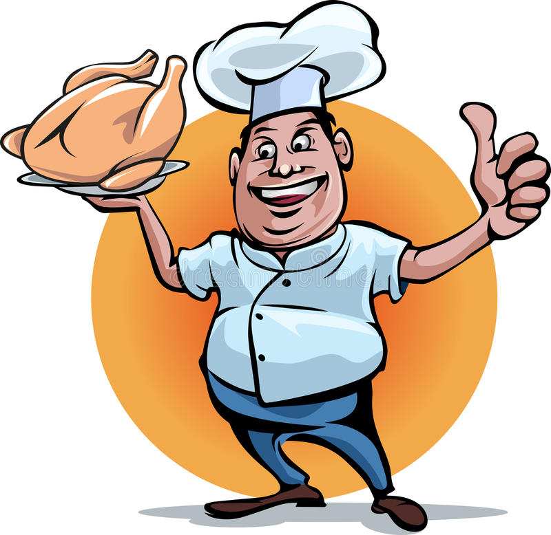 Chef Smile. Vector illustration, cartoon mascot of a chef holding a roasted chicken stock illustration