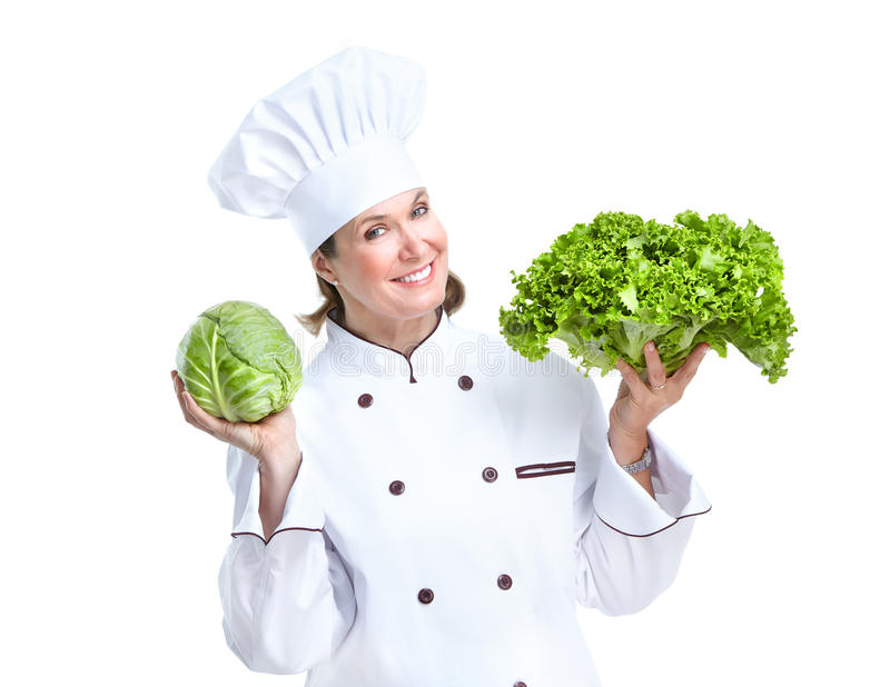 Chef. Smiling chef. Isolated over white background. Gourmet stock image