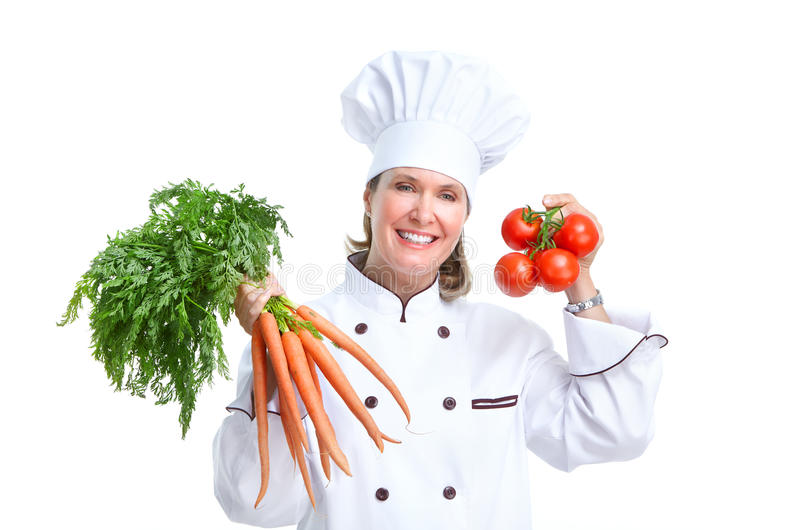Chef. Smiling chef. Isolated over white background. Gourmet stock photography