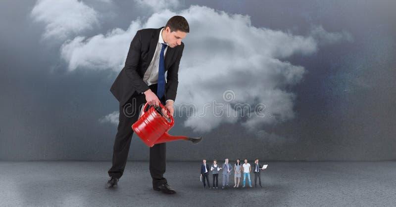 Chef som bevattnar anställda mot himmel stock illustrationer