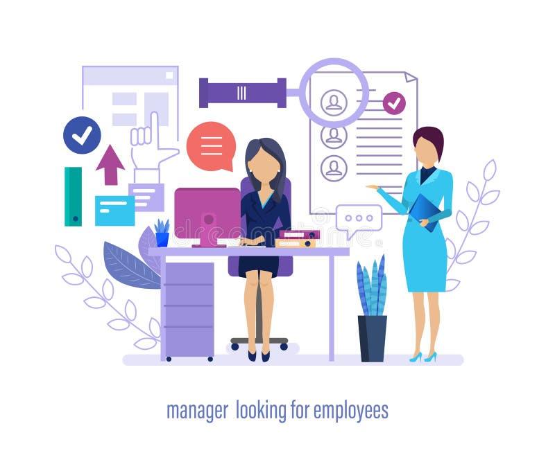Chef som söker efter anställda Personalrekrytering, meritförteckningsökande, online-intervjuer vektor illustrationer