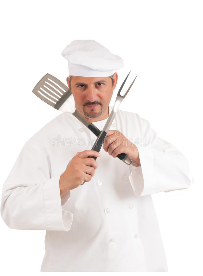 Chef on white background. Chef with spatula and fork isolated on white background, work path included royalty free stock image