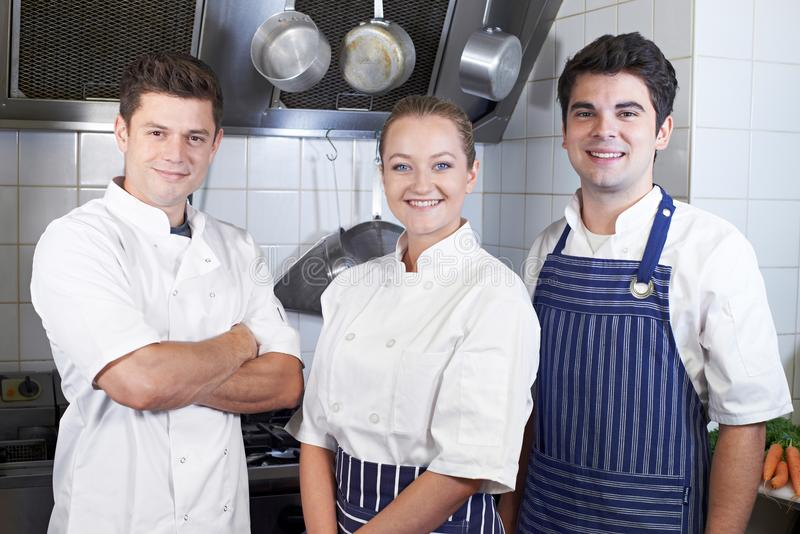 Portrait Of Chef And Staff Standing By Cooker In Kitchen stock image