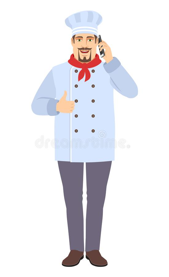 Chef talking on the mobile phone and showing thumb up. Full length portrait of Chef in a flat style. Vector illustration vector illustration