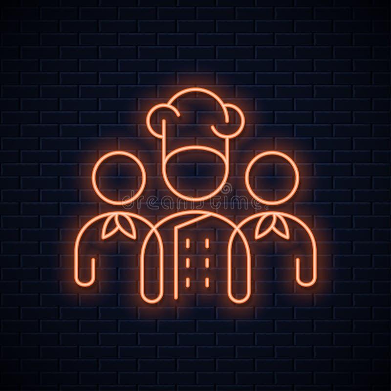 Chef team neon sign. Restaurant chefs neon concept stock illustration