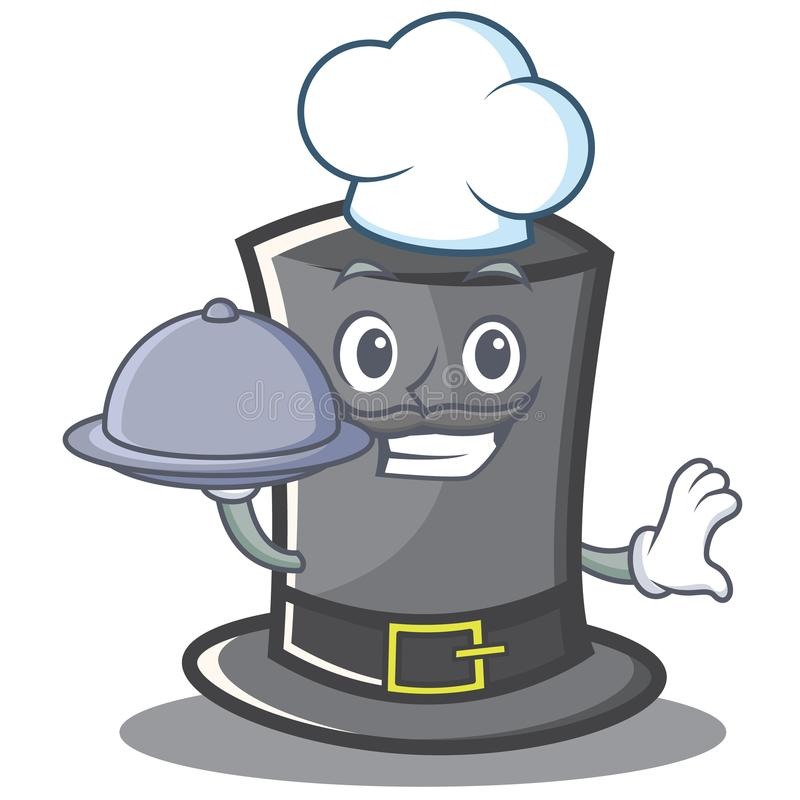 Chef-Thanksgiving-Hutcharakterkarikatur stock abbildung