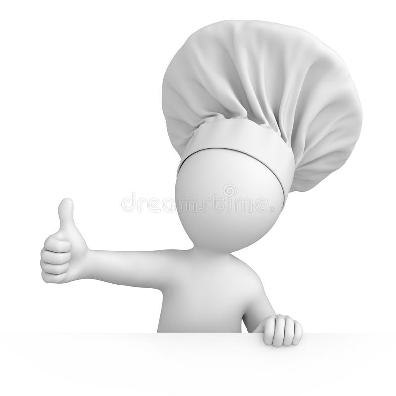 Chef with thumb up. 3d image with a work path stock illustration