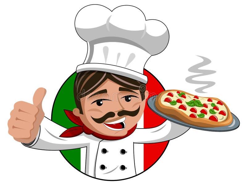 Chef thumb up hot pizza tray isolated. Chef thumb up serving hot pizza on tray isolated stock illustration