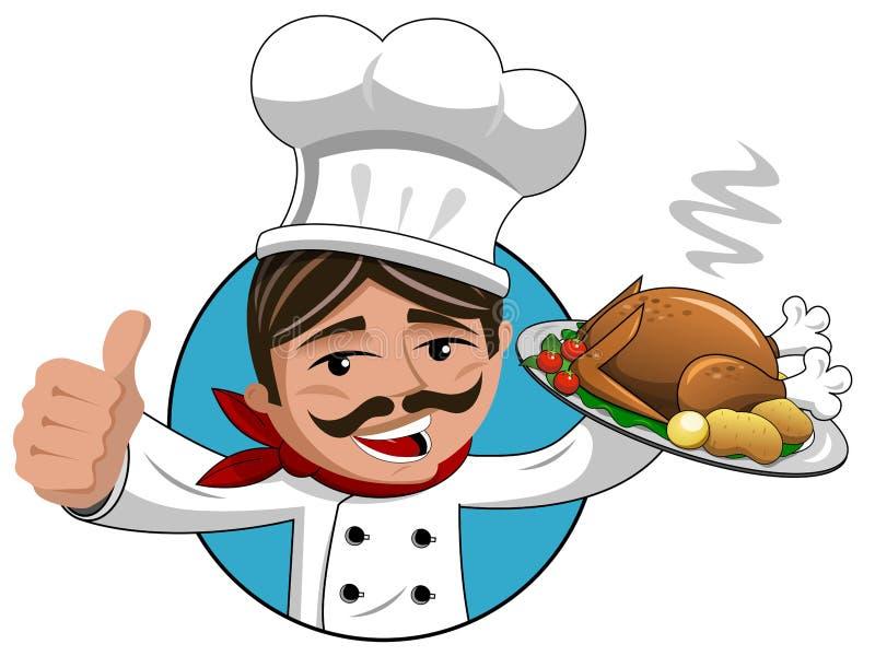 Chef thumb up roasted turkey tray isolated royalty free illustration