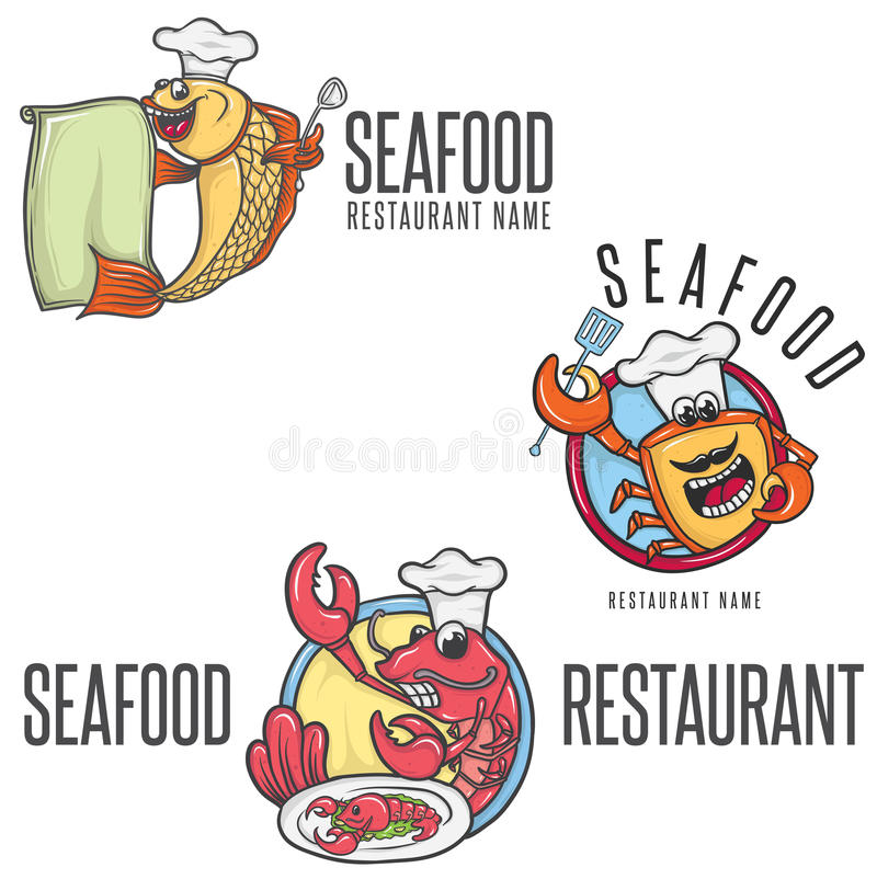 Chef In Toque de mascotte de bande dessinée de fruits de mer photo stock