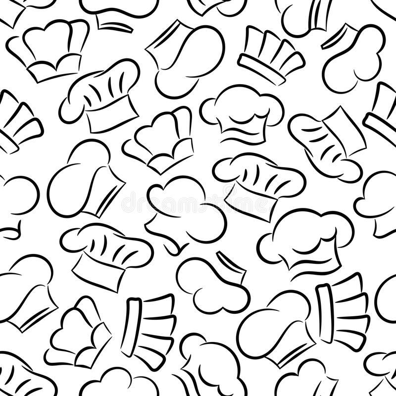 Chef Toques Caps And Hats Seamless Pattern Background Restaurant Cafe Bakery Kitchen Tablecloth Decoration Wallpaper