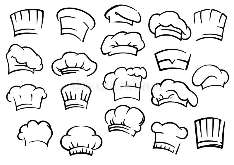 Chef toques and hats set vector illustration