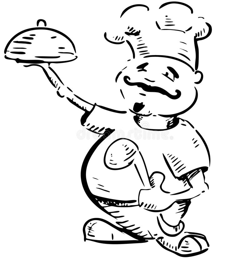 Chef With Tray Of Food In Hand Stock Images
