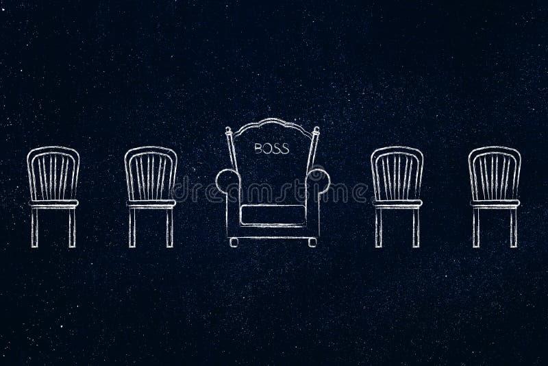 Chef- troon onder ander normaal concept van de stoelenhiërarchie stock illustratie