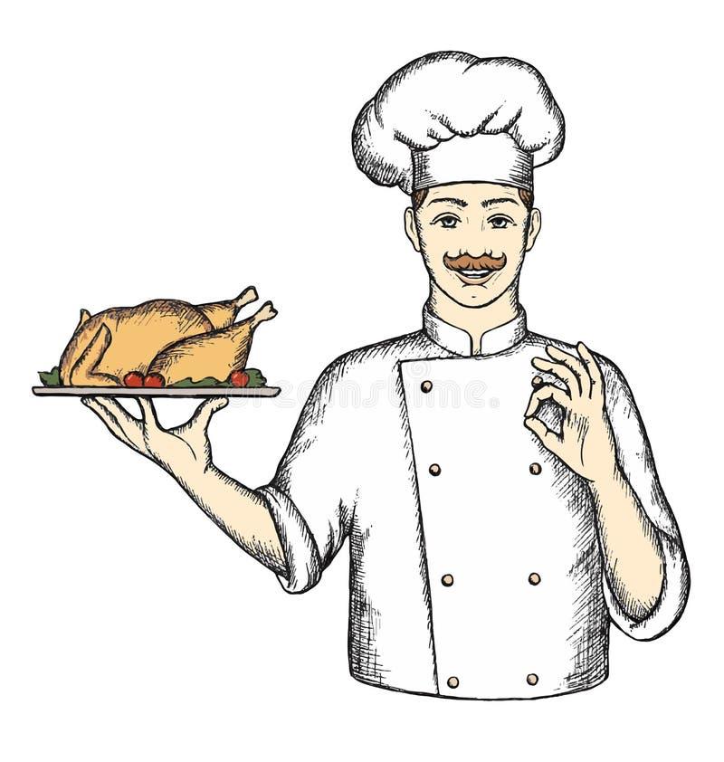 Chef with Turkey. stock illustration